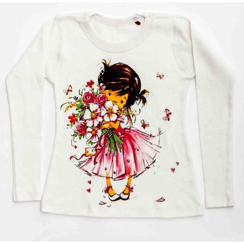 Лонгслив Девочка с цветами белый-1981146