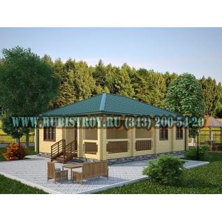 """Проект """"КАСЛИНСКИЙ"""" из профилированного бруса 145 х 190 мм, размер 11 х 8 площадь дома 83 кв.м."""