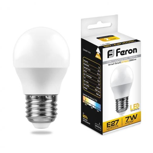 Светодиодная лампа Feron LB-95 (7W) 230V E27 2700K G45-8164279