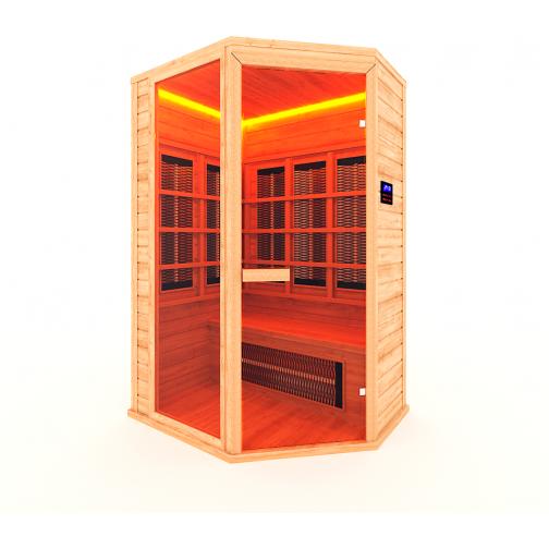 Инфракрасная сауна 2 - местная, угловая со стеклянной дверью и одной стеклянной вставкой-6012524