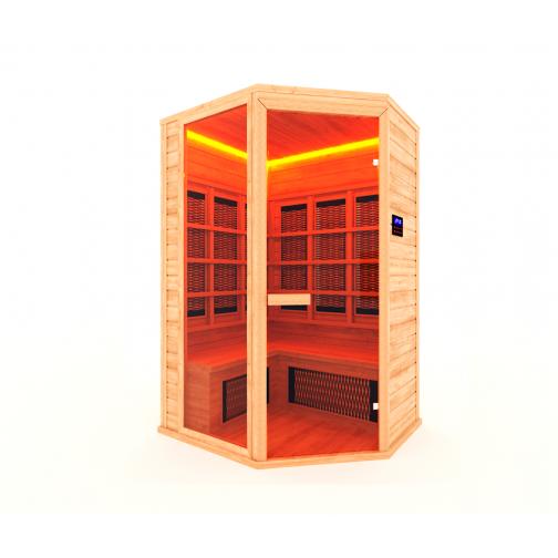 Инфракрасная сауна 3 - местная, угловая со стеклянной дверью и одной стеклянной вставкой-6012522