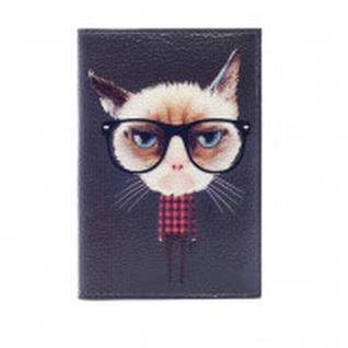 Обложка на паспорт (пластик.поля) Кот хипстер 1005