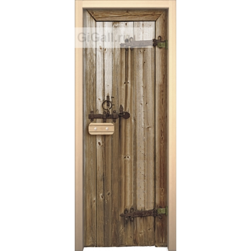 Дверь для бани или сауны стеклянная Арт-серия с рисунком Глассджет старое дерево, липа-5900576