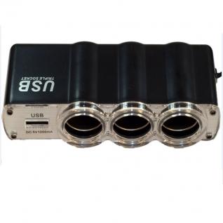 Разветвитель на 3 гнезда прикуривателя с USB-портом Prestige 3130-9064314