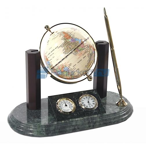 """Настольный прибор """"Лидер"""" с глобусом на мраморной подставке-763738"""