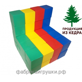"""Строительный набор из дерева """"Цветные кубики"""". 40 штук (арт. КДСн-001)-1972799"""