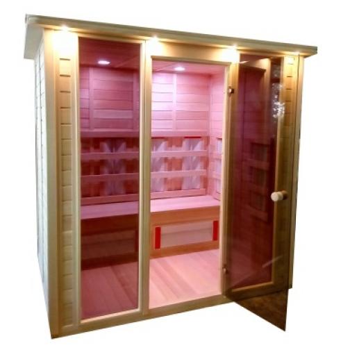Инфракрасная сауна 4 - местная со стеклянной дверью и двумя стеклянными вставками-6012519