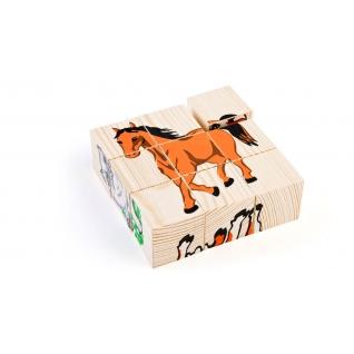 """Набор деревянных кубиков """"Домашние животные"""", 9 дет. Томик-37746536"""