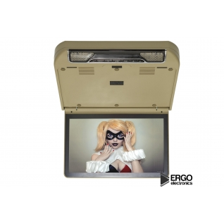 """Автомобильный потолочный монитор 13.3"""" со встроенным Full HD медиаплеером ERGO ER13S-DVD (бежевый) Ergo-5763560"""