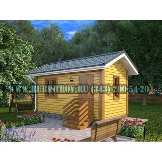 Дачный дом по проекту СТТ-35из обрезного бруса, сечением 150 х 150 мм., площадь 15,0 кв.м., размер 3,0 х 6,0 м.