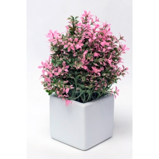 Цветы искусственные в горшке розовые-7171895
