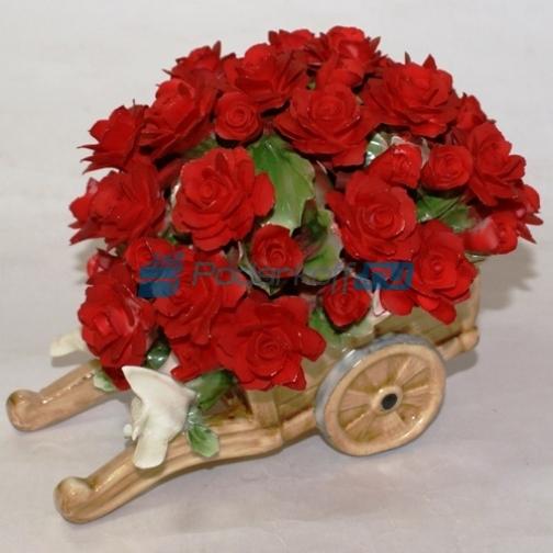"""Цветы из фарфора """"Любовь и голуби"""", красные-762409"""