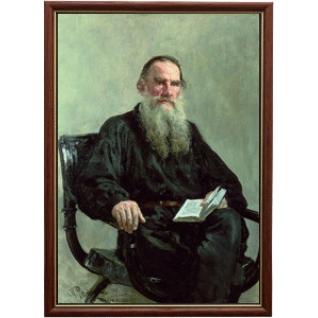 Портрет писателя Льва Толстого в рамке и со стеклом 30х40-6102985