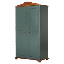 Шкаф 2-створчатый из массива сосны АЙНО Эмаль Зелёная + Бейц Вишня