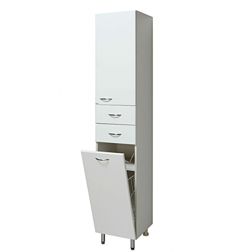 Шкаф-пенал Runo 30 с бельевой корзиной правый, белый-6794519