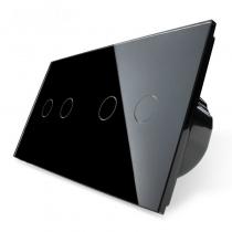 Выключатель сенсорный 4 линии черное стекло
