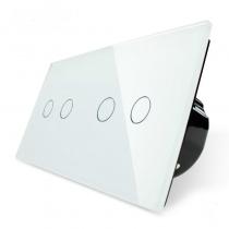 Выключатель сенсорный 4 линии белое стекло