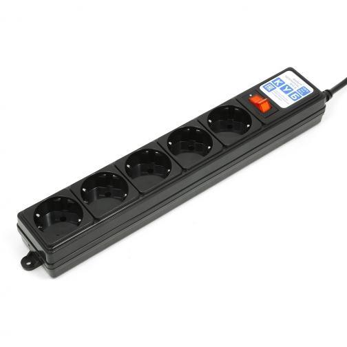 Фильтр-удлинитель Power Cube B 0,5 м 5 розеток (черный) 10А/2,2кВт-6439772