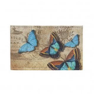 Визитница из нат. кожи Голубые бабочки 16 кармашков, 10,5 см х 7 см 1089