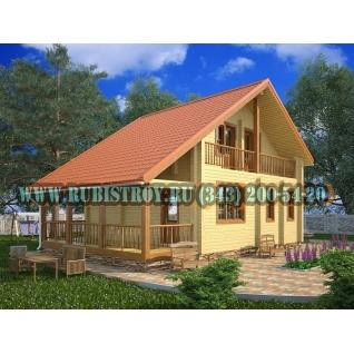 """Проект """"РОСИНКА"""" из профилированного бруса 145 х 190, размер 8,5 х 11,5 м., площадь дома 124,0 кв.м."""