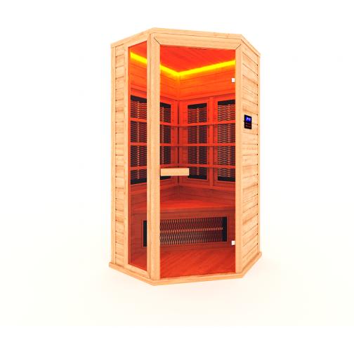 Инфракрасная сауна 1 - местная, угловая со стеклянной дверью и одной стеклянной вставкой-6012526