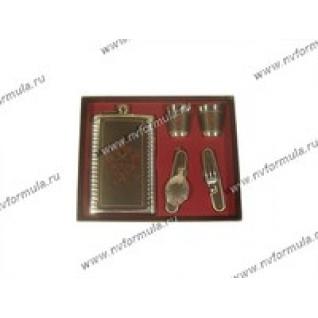 Набор подарочный с флягой 9унц 260гр с вилкой и ложкой вид 950-432344