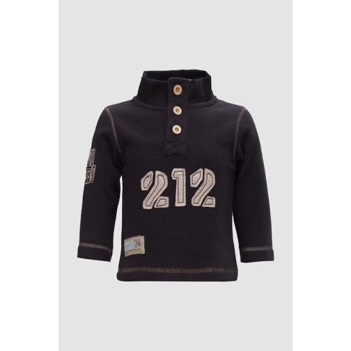 Толстовка трикотажная на пуговицах черная-8171204