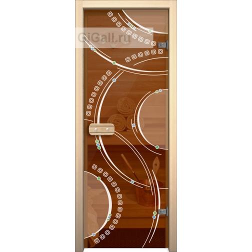 Дверь для бани или сауны стеклянная Арт-серия с рисунком Глассджет Кольца, липа-5900574