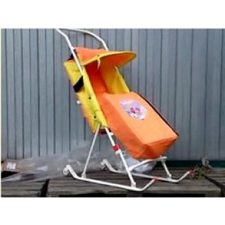 Санки коляска ДЭМИ (Деми) с колесиками и с конвертом СДП.01-01 оранжево-желтые-830292