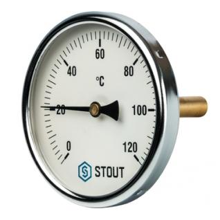 """Термометр биметаллический с погружной гильзой. Корпус Dn 100 мм,гильза 75 мм 1/2"""" STOUT SIM-0001-107515"""