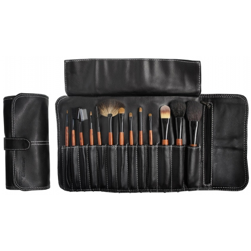 Профессиональные кисти для макияжа - Набор JEANS на 13 кистей для макияжа в черном кофре на клипсе-2148229