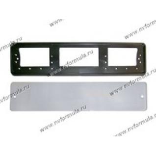 Рамка номерного знака средняя + защита АВ015-ч-432713