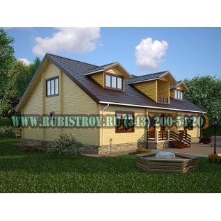 """Проект """"САЛАИРСКИЙ"""" из профилированного бруса 145 х 190 мм, размер 9 х 8, площадь дома 58 кв.м."""