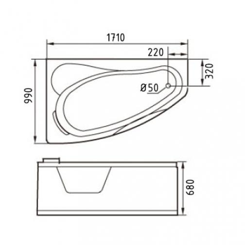 Акриловая ванна Gemy с гидромассажем (G9046-II K) 6817530 3