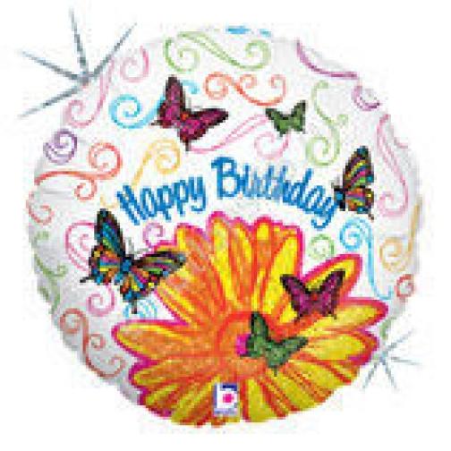 Бабочки и цветок С днём рождения Голография-873598
