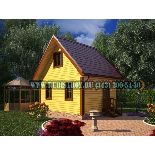 Дачный дом по проекту СТТ-21, из обрезного бруса сечением 150 х 150 мм.,площадь 44,0 кв.м., размер 6,0 х 5,0 м.