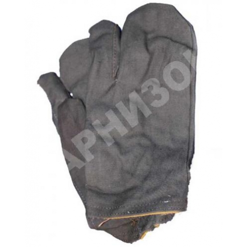 Рукавицы трехпалые утепленные черного цвета-10867