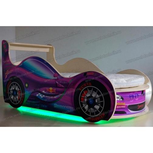 Детская кровать машина SportCar Purple с матрасом и подсветкой | 162х75х80-5254642