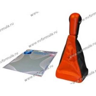Ручка КПП 2113-15 Сфера кожзам+чехол красная-431221