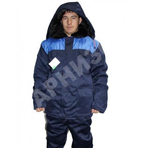 Куртка утепленная на молнии ткань гретта темно синий с васильковым-9145