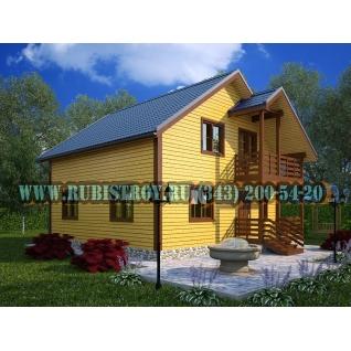 Дачный дом по проекту СТТ-47из обрезного бруса сечением 150 х 150 мм., площадь 154,0 кв.м., размер 9,0 х 9,0 м.