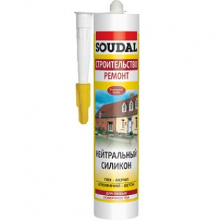 SOUDAL Герметик силиконовый SOUDAL нейтральный белый 300мл.