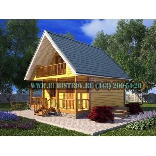 Дачный дом по проекту СТТ-8, из обрезного бруса сечением 150 х 150 мм., площадь 82,0 кв.м., размер 7,0 х 7,5 м.