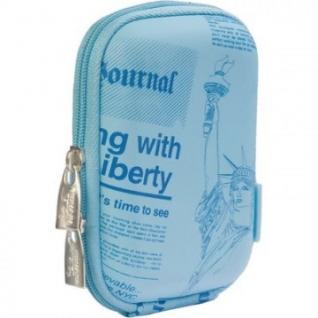 Чехол для фотокамеры Riva 7103 (PU) Digital Case shallow blue (newspaper)