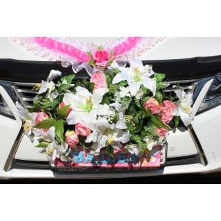 Букет на радиатор №1, белый/розовый (большой с лилиями)