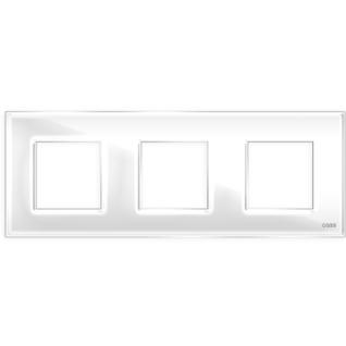 """Трехпостовая рамка стеклянная белая """"эстетика"""" gl-p103-wc"""