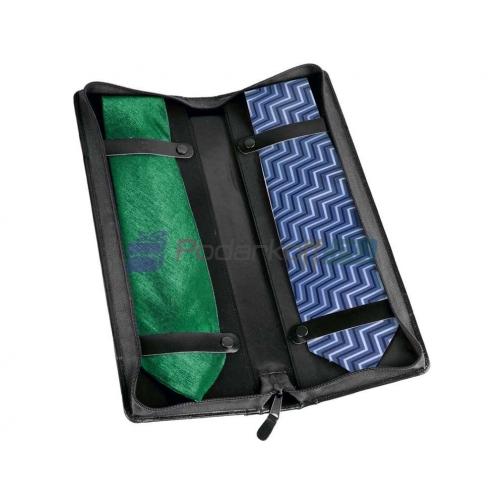Чехол для галстуков William Lloyd из натуральной кожи, черный-5864254