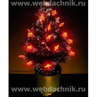 Елка оптоволоконная | светодиодная 45 см. с красными звездочками  световод Файбер 18-027