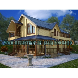 "Проект ""КУРГАНОВО"" из профилированного бруса 145 х 190, размер 10,2 х 14,0 м. площадь дома 192,0 кв.м."
