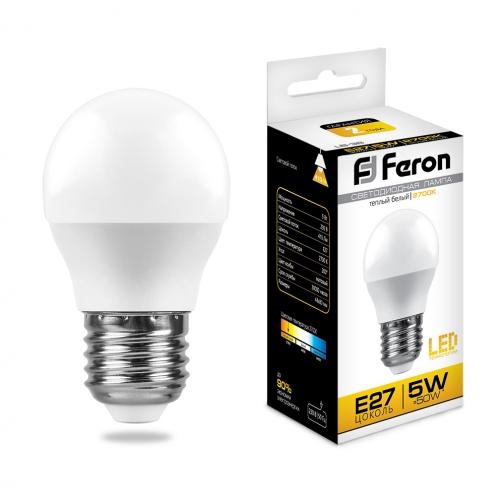 Светодиодная лампа Feron LB-38 (5W) 230V E27 2700K G45-8164266